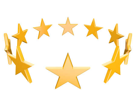 Gold stars on a circle isolated at white background