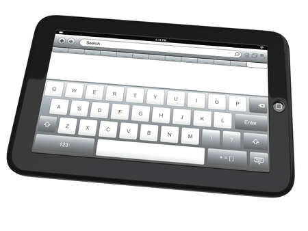 Tablet pc with a virtual keyboard on the screen  Isolated on white background photo