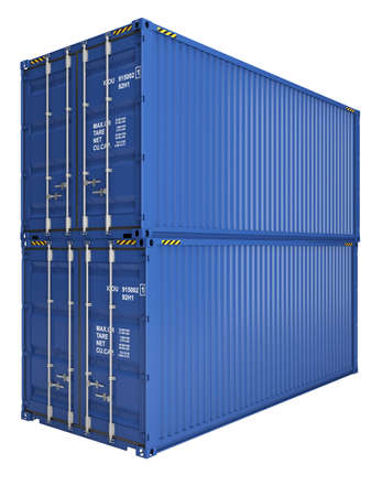 merchandize: Two blue freight containers isolated on white