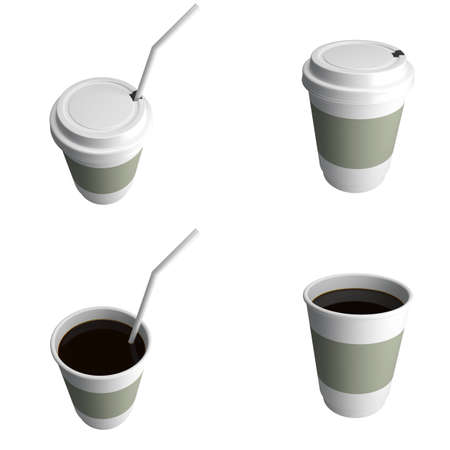 Plastic cup of coffee, with a lid, different foreshortenings. 3d render illustration illustration
