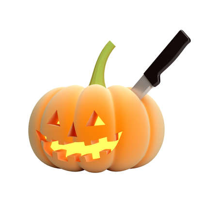 Halloween pumpkin face isolated on white background photo