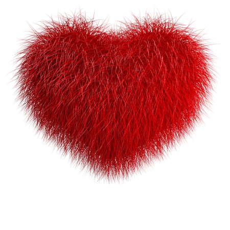 my dear: Cuore da pelo rosso. Illustrazione di rendering 3d isolato su bianco