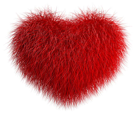 Heart from red fur. 3d render illustration isolated over white
