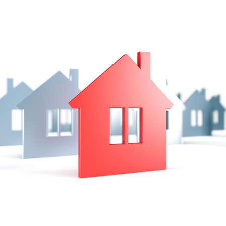 Unique red house. 3d render illustration illustration