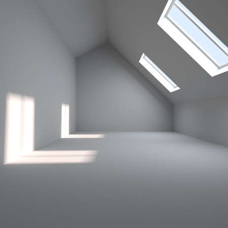mansard: Empty interior. A room is in a mansard. Sun weather Stock Photo