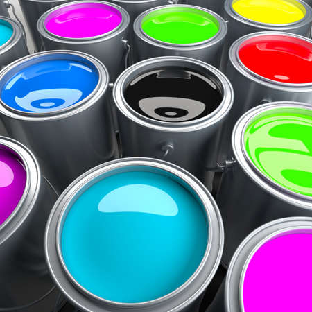 descriptive colour: Paint cans with varicoloured paints Stock Photo