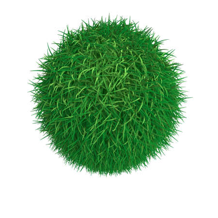 Sphere from green grass isolated at white background photo