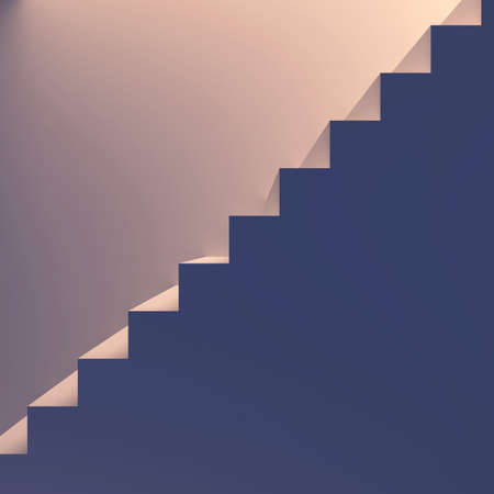 Lighted staircase. End-view. Conception of success or religion. 3d render illustration illustration