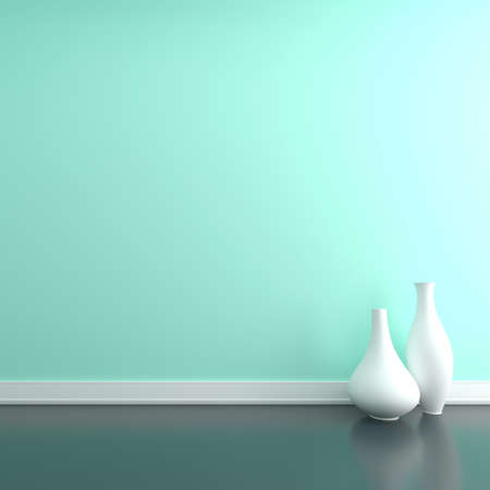 Two vases on the floor near a wall. Empty room Stock Photo