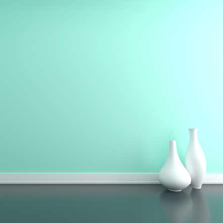 Two vases on the floor near a wall. Empty room Standard-Bild