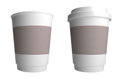 cup of coffee: Plastic cup of coffee. 3d render illustration