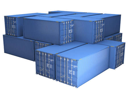 Pile of blue freight containers, isolated on a white background photo