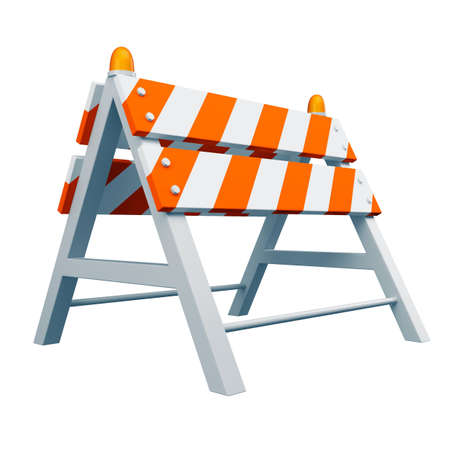 Road barrier on white background photo