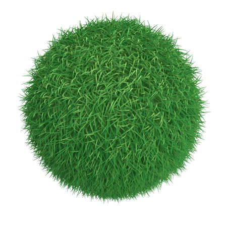 Ball from green grass isolated at white background photo