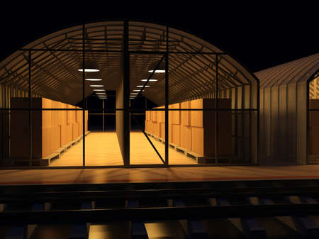 goods station: Storage facilities. 3d render illustration
