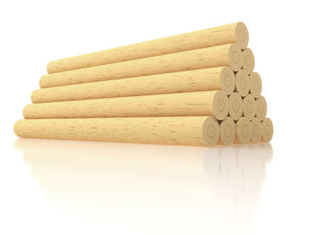 depository: Stack of wooden logs on white background