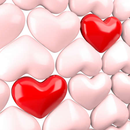 favorite: Two bright hearts on a background dim hearts Stock Photo