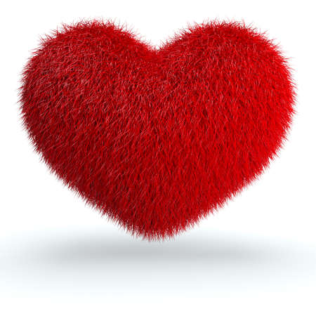 cushion: Heart from red fur. 3d render illustration isolated at white background