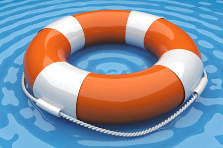 diving save: Orange life buoy in the water. 3d render illustration