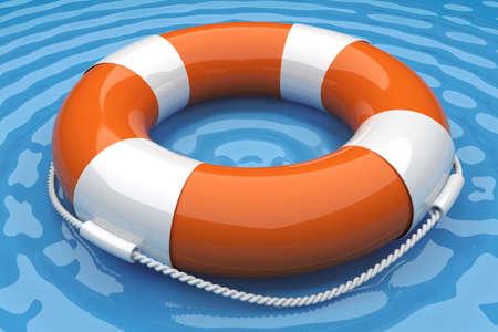 diving save: Orange life buoy in the water. 3d render illustration