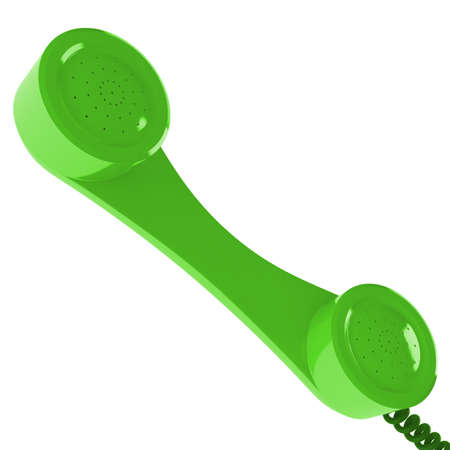 earpiece: Green telephone handset isolated at white background Stock Photo