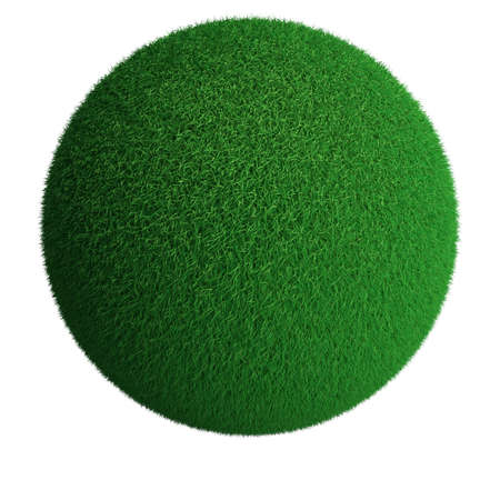 Sphere from green grass isolated at white background