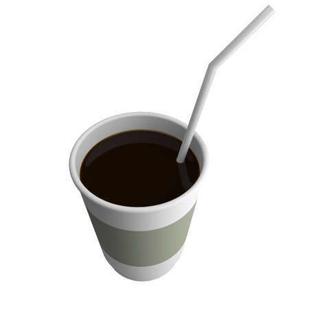 Plastic cup, complete coffee. With a straw. isolated 3d render illustration illustration