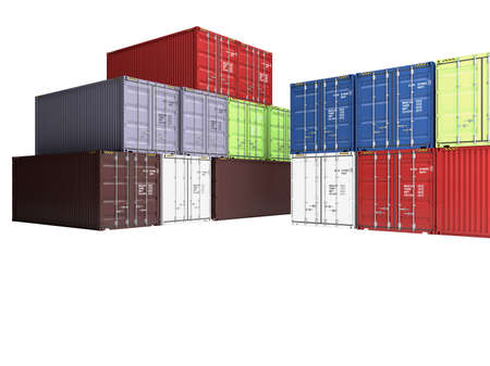 varicoloured: Pile of varicoloured freight containers, isolated on a white background
