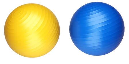 Coloured fitness balls isolated on white background. 3d render illustration