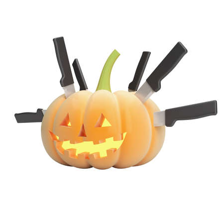 Halloween pumpkin face with a knifes isolated on white background Stock Photo - 15683352