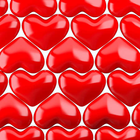 favourites: Red hearts pattern. 3d render illustration