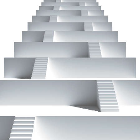 cubicle: Staircase. Group from stairs. 3d render illustration