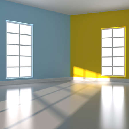 ceiling design: Empty room in blue and yellow colour  3d render illustration