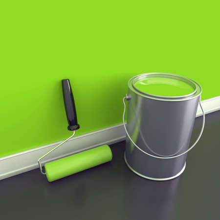 home deco: Painting of walls in a green paint  Decorating of house  3d render