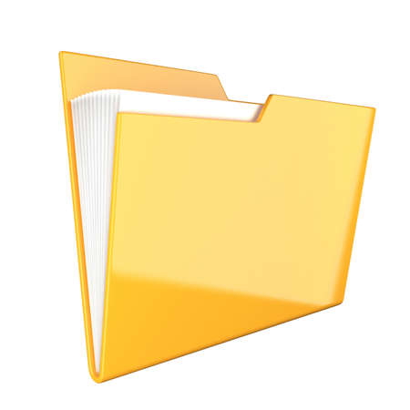 Shiny yellow folder icon isolated at white photo