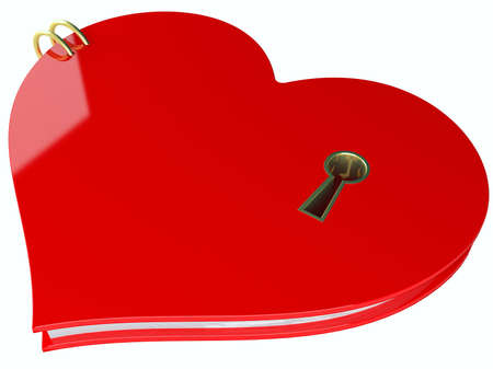 Closed heart with a keyhole isolated at white background photo