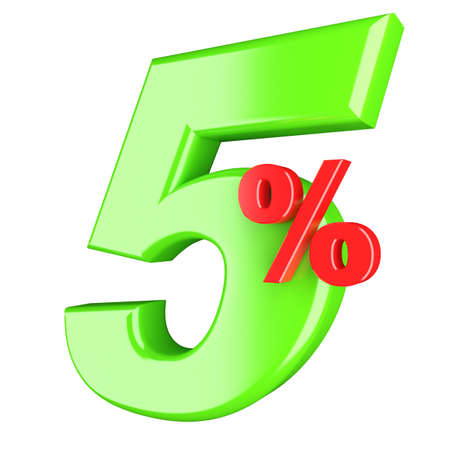 reduction: Five percent  3d render illustration isolated on white background Stock Photo
