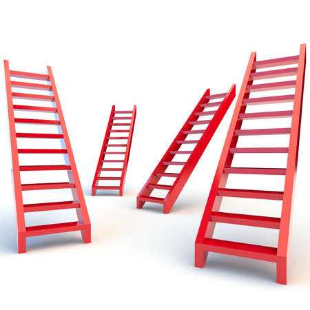 Illustration of red ladders on white background illustration