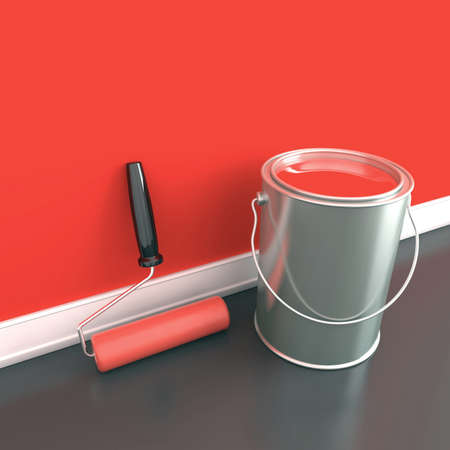 Painting of walls in a red paint  Decorating of house  3d illustration