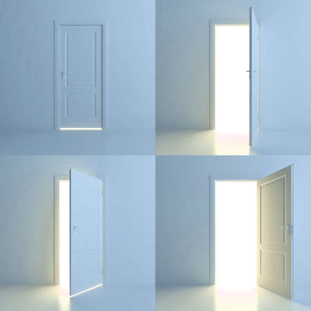 A door is opened for four stages. Four different positions of one door photo