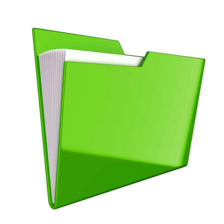 Shiny green folder icon isolated at white