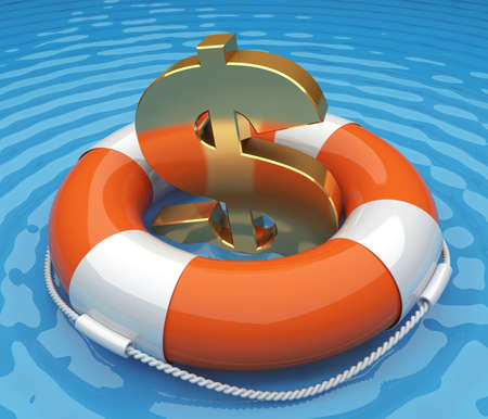 Life buoy with a US dollar sign in the water. 3d render illustration illustration