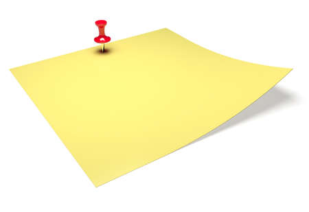 Yellow sticky note with stick pin isolated on white background photo