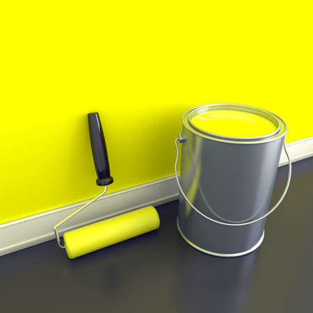painting and decorating: Painting of walls in a yellow paint. Decorating of house. 3d illustration