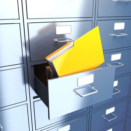 document management: Opened filing cabinet for documents with bright yellow folder. 3d render illustration