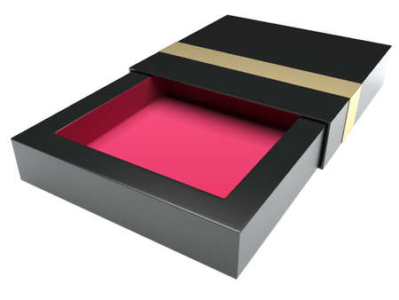 chocolate box: Stylish box opened. Isolated on white background