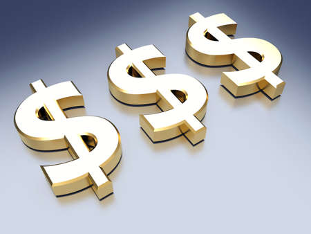 Golden sign of dollar on blue reflective background. 3d render Фото со стока