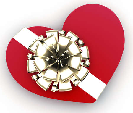 Heart gift present on white background. 3d concept of Valentines day photo