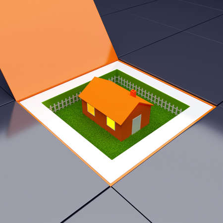 housewarming: Unique box with house and garden. 3d Concept of uniqueness