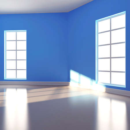 Empty room in blue colour. 3d render Stock Photo - 16709106